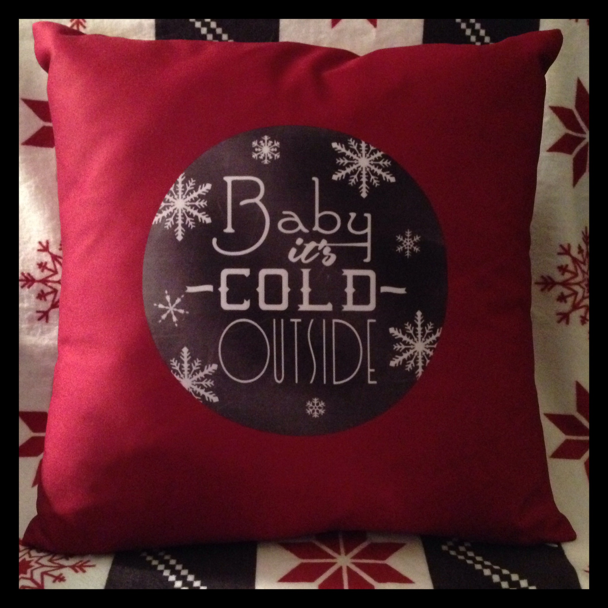 Chalkboard Let it Snow and Baby it's Cold Outside Throw Pillow from Zazzle