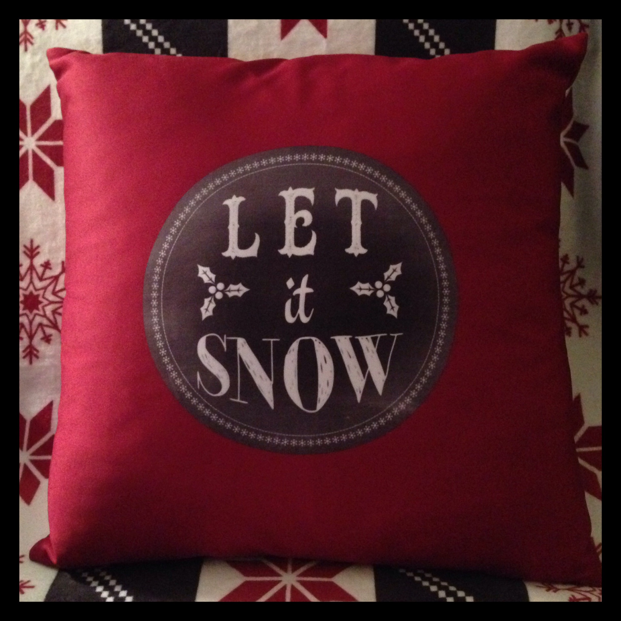 """Chalkboard """"Let it Snow"""" and """"Baby it's Cold Outside"""" Throw Pillow from Zazzle"""